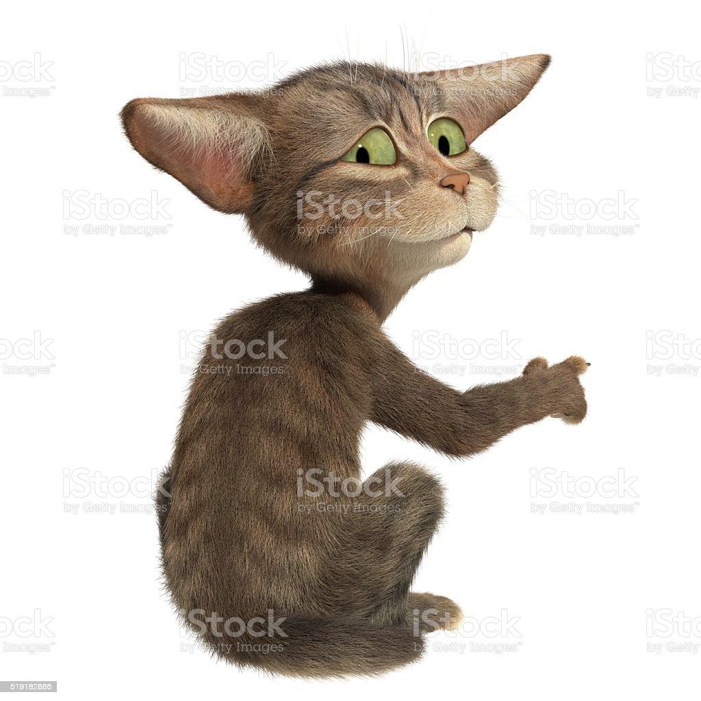 Fluffy kitten paw shows stock photo