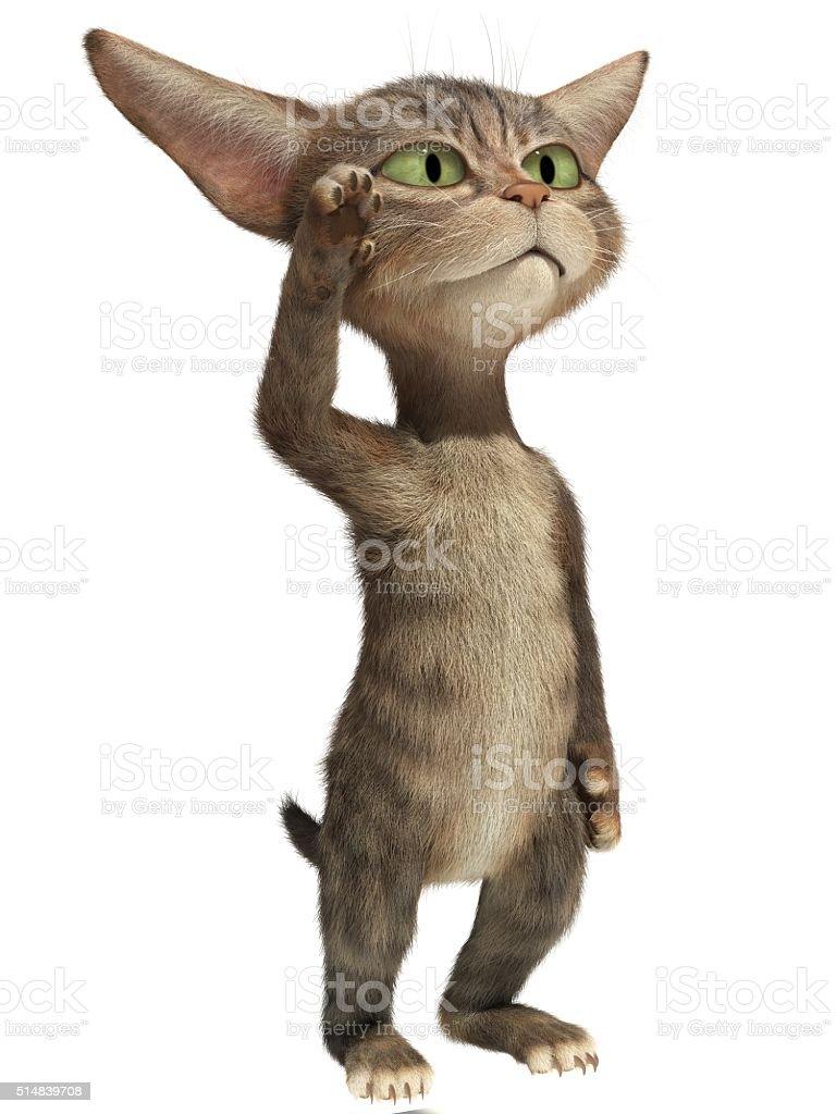 3D fluffy kitten standing on hind legs stock photo