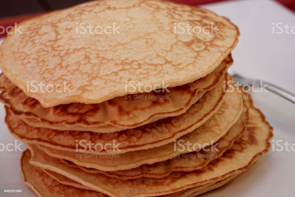 Fluffy Pancakes on a White Plate stock photo