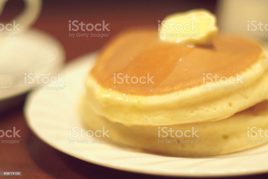 Fluffy pancakes stock photo