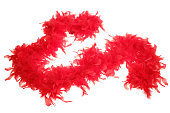 Fluffy red feather boa string on white