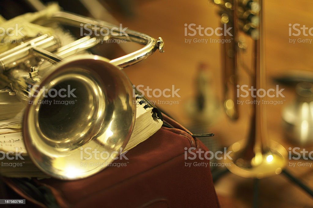 Flugelhorn and Trumpet stock photo