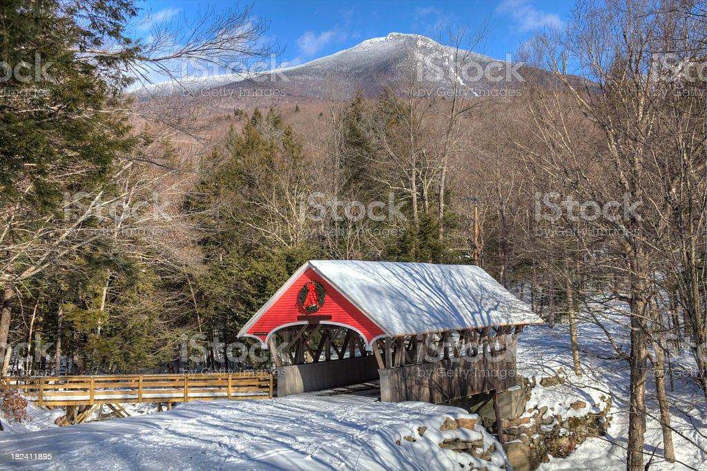 Flume Covered Bridge in Winter stock photo