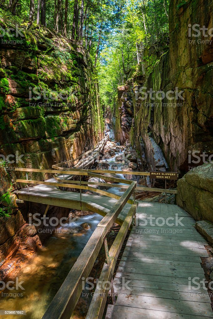 Flume Gorge in Franconia Notch State Park, New Hampshire stock photo
