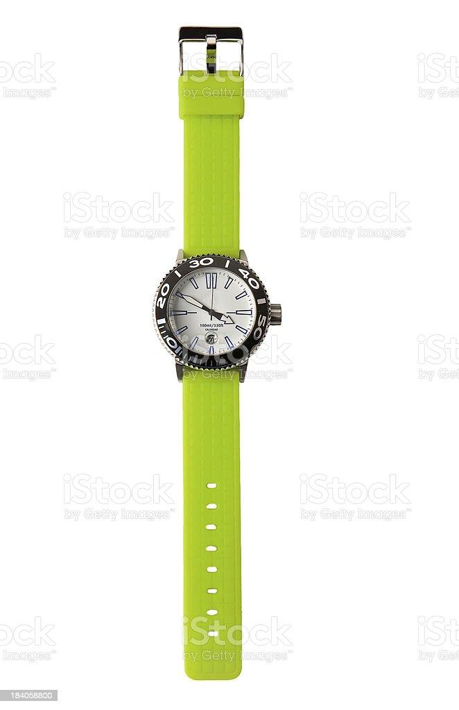 Fluor green sportive watch royalty-free stock photo