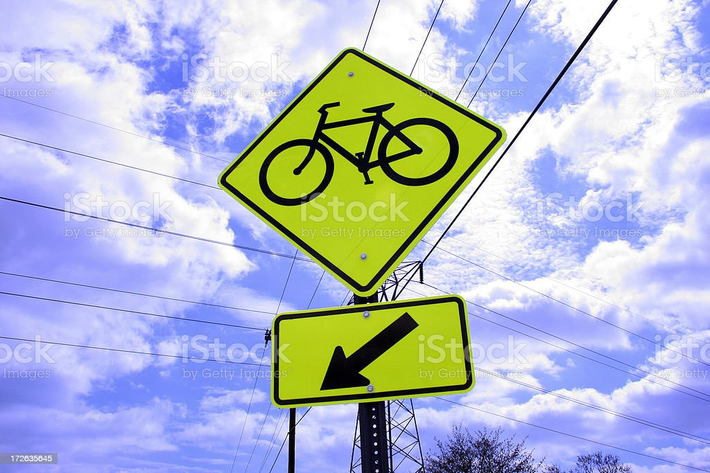 Fluorescent Bike Crossing Sign stock photo