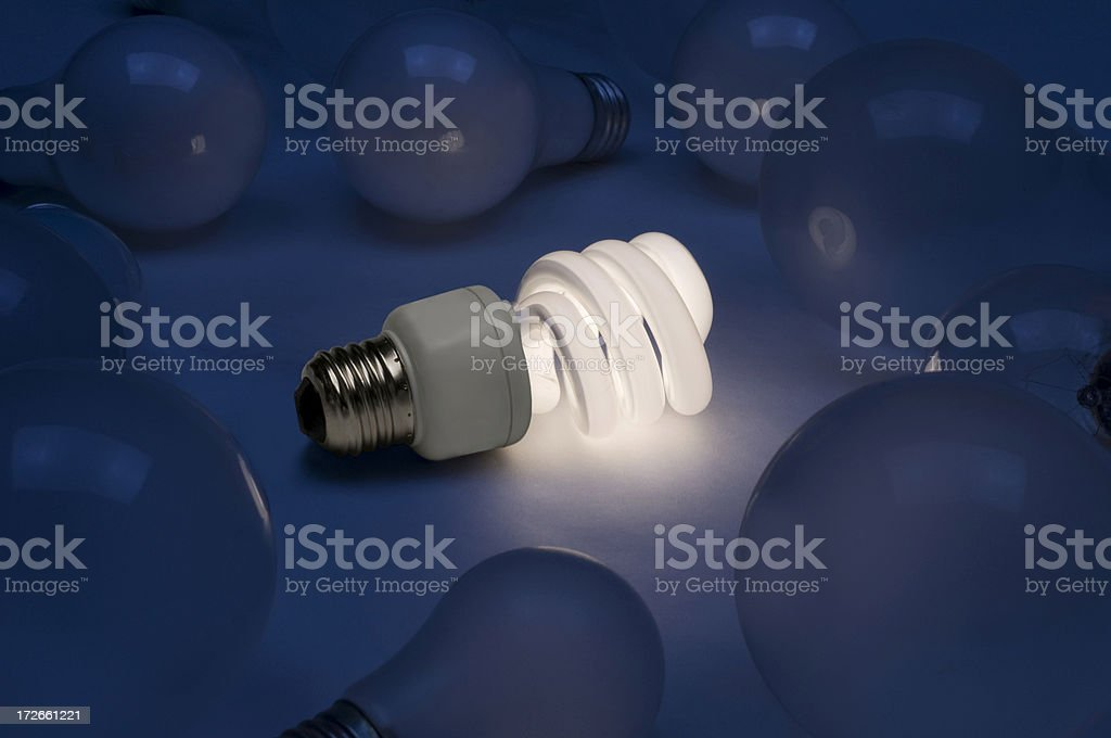 Fluorescent bulb with old style bulbs royalty-free stock photo