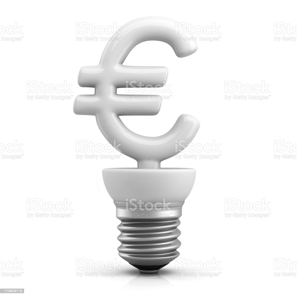 Fluorescent Euro Bulb royalty-free stock photo