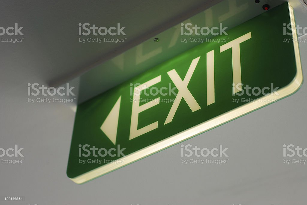 Fluorescent Exit Sign royalty-free stock photo