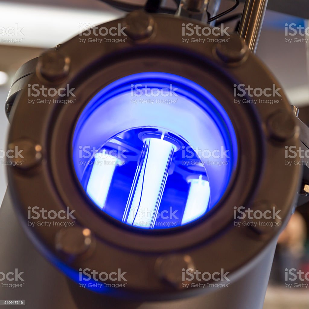Fluorescent lamps filtration stock photo