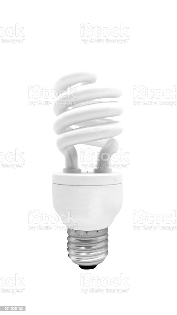 Fluorescent Light Bulb isolated on white background with clipping path stock photo