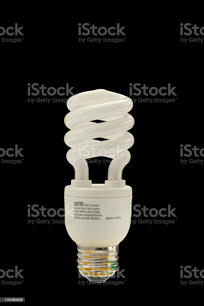 fluorescent light bulb with clipping path royalty-free stock photo