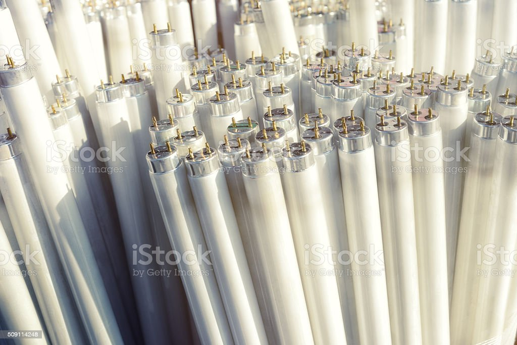 Fluorescent light tubes, electric pieces of rubbish stock photo