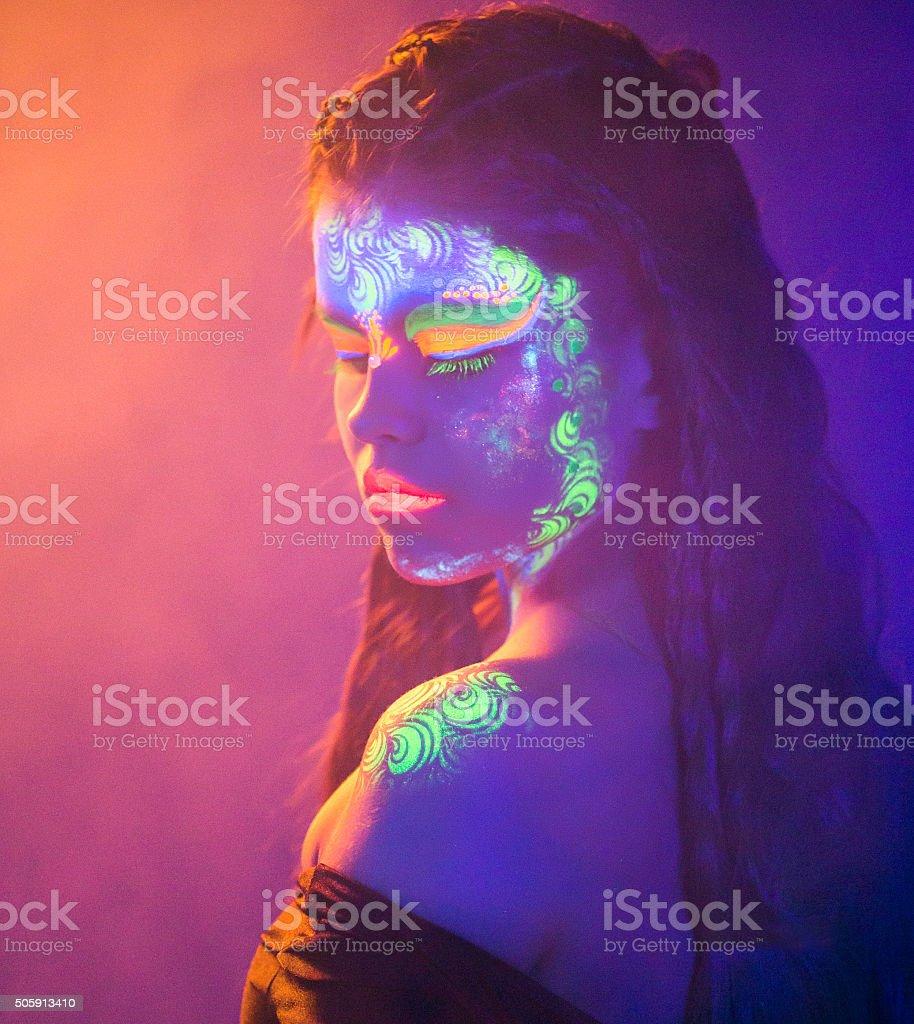 Fluorescent Makeup For Lovely Girl stock photo