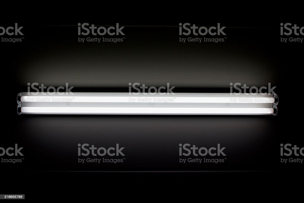 fluorescent mounted on wall stock photo