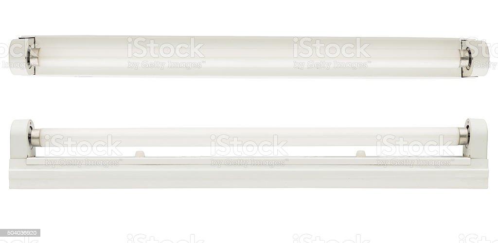 fluorescent tube isolated on white background stock photo