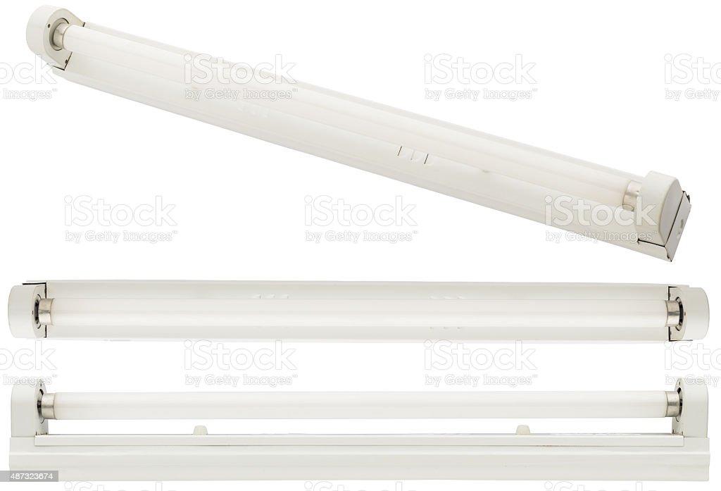 fluorescent tube on white background stock photo