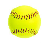 Fluorescent Yellow Softball with red stitches on white background