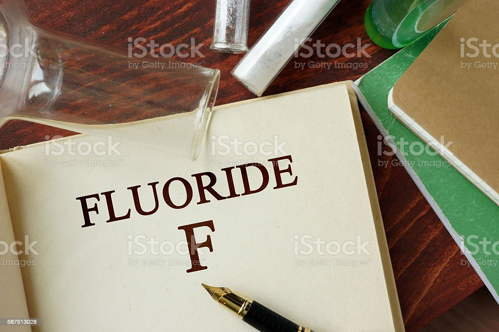 Fluoride written on a page. Chemistry concept. stock photo