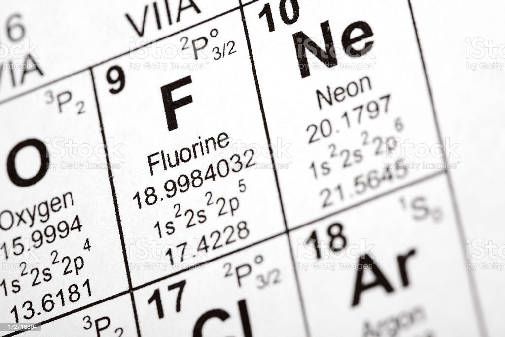 Fluorine Element stock photo