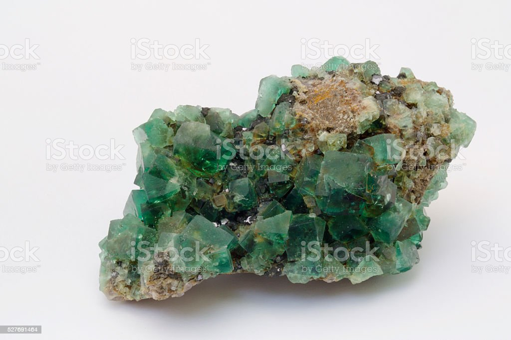 fluorite crystal cluster stock photo