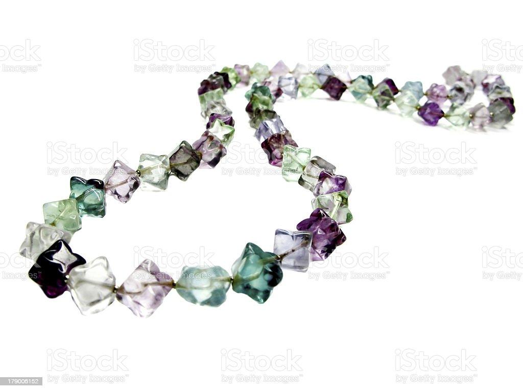 fluorite semigem crystals beads stock photo