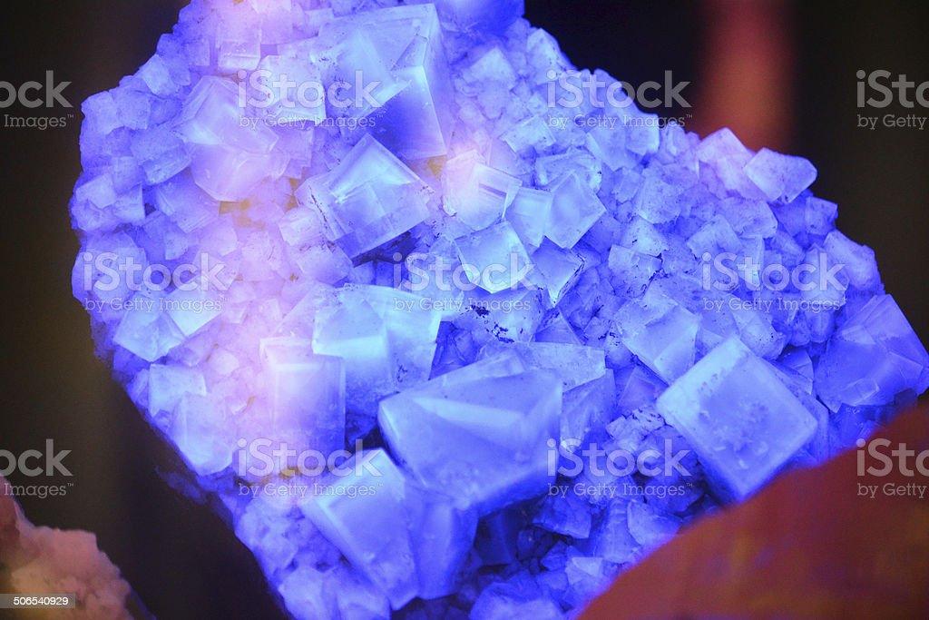 Fluorite Under Black Light Crystal Macro stock photo