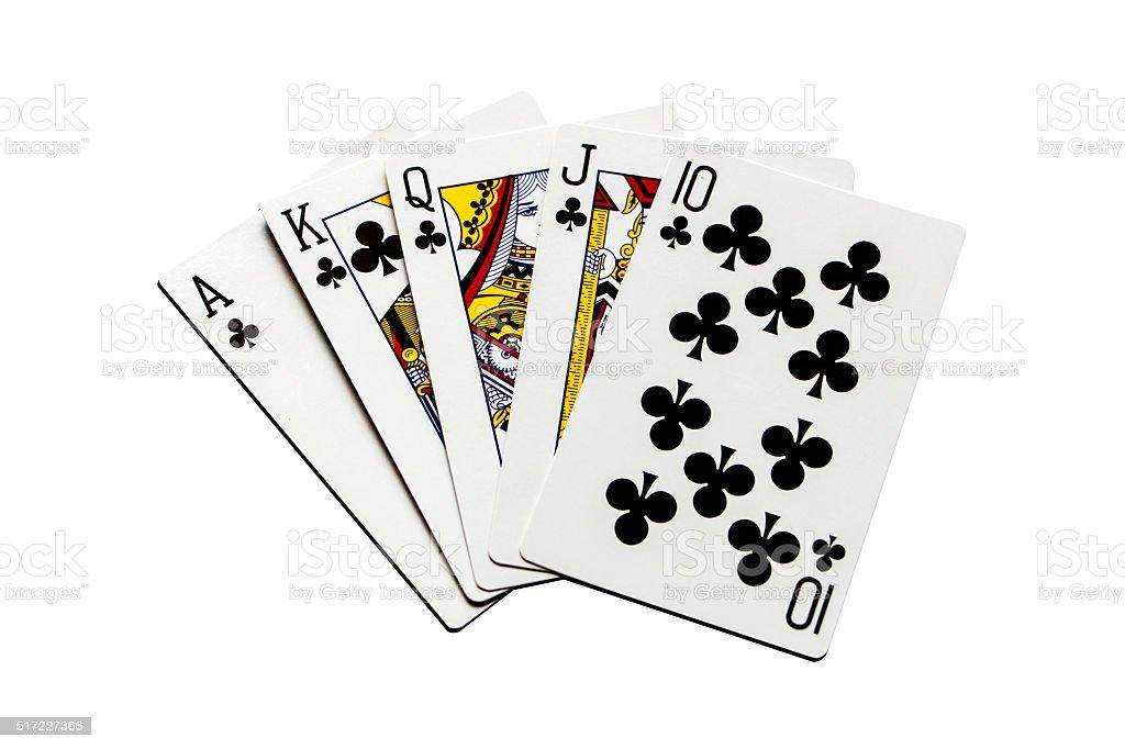 Flush royal cards isolated on white background stock photo