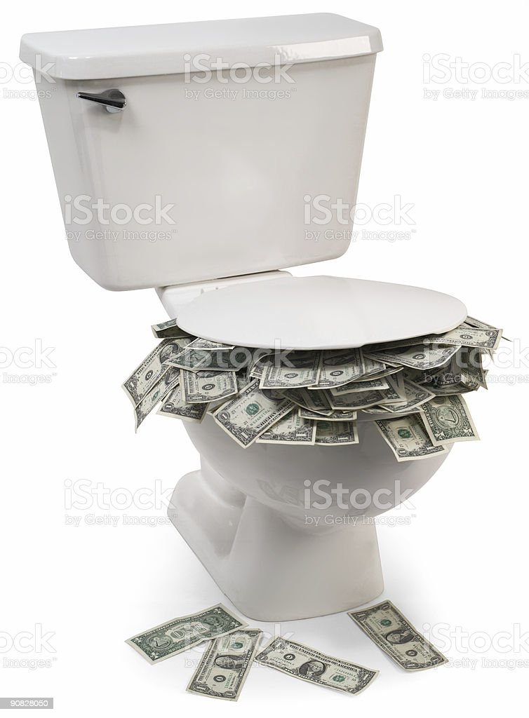 Flush with cash stock photo