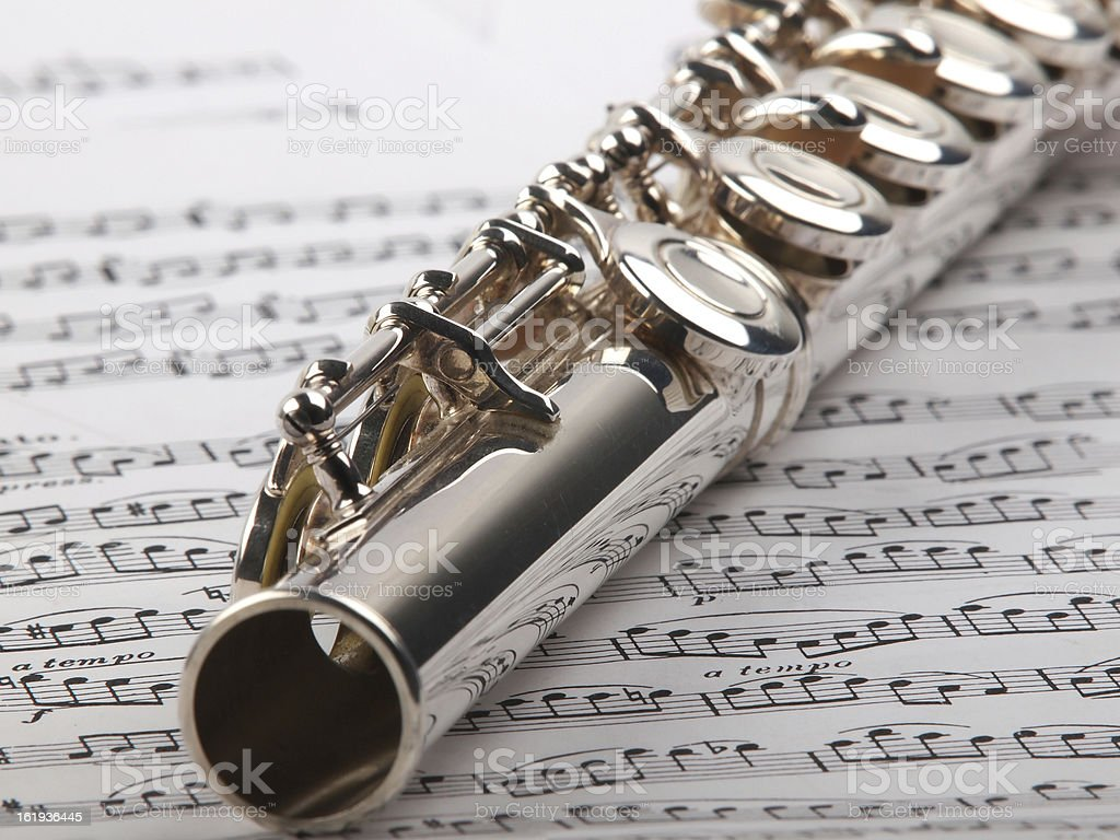 flute and notes royalty-free stock photo