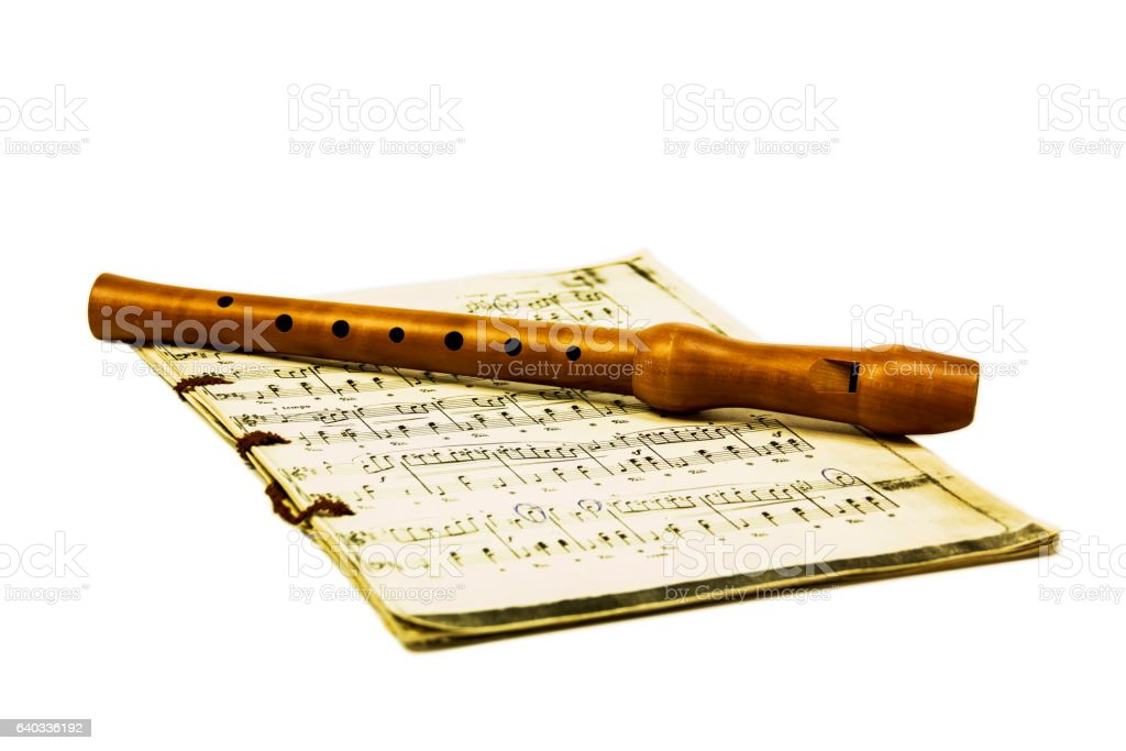 Flute and notes stock photo