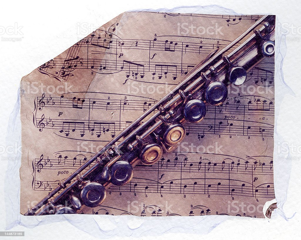 flute and sheet music royalty-free stock photo