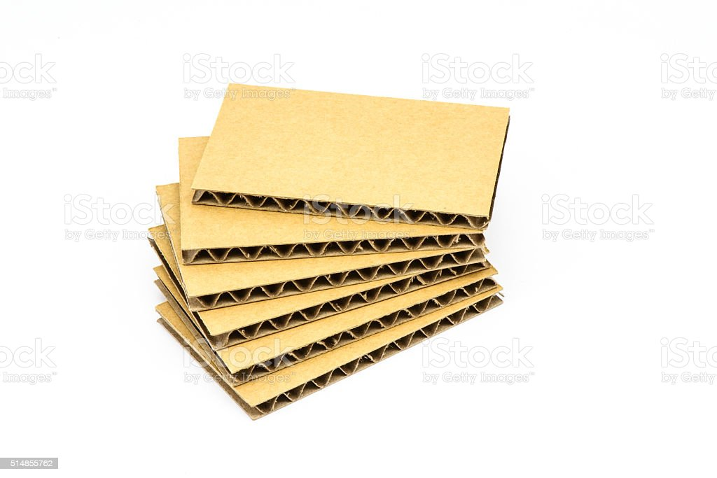 'A' Flute Corrugated Sheets, Cardboard, Isolated stock photo