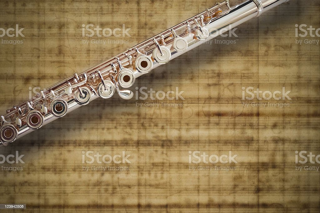 Flute Middle Joint/14 K Rose Gold/ On MUSIC Sheet Background royalty-free stock photo