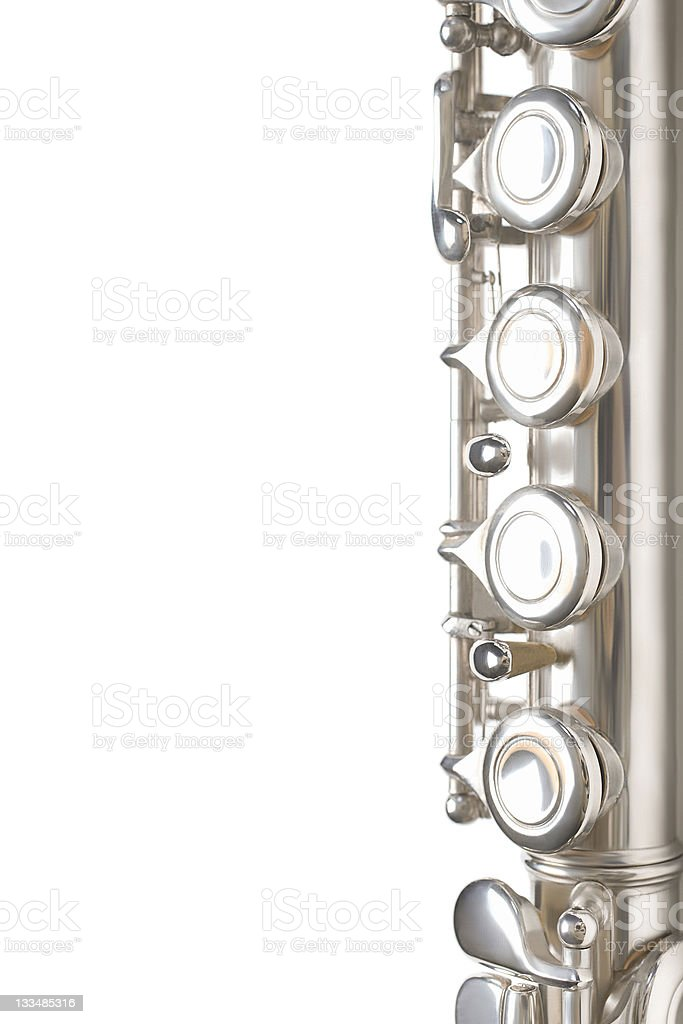 Flute musical instrument isolated details royalty-free stock photo