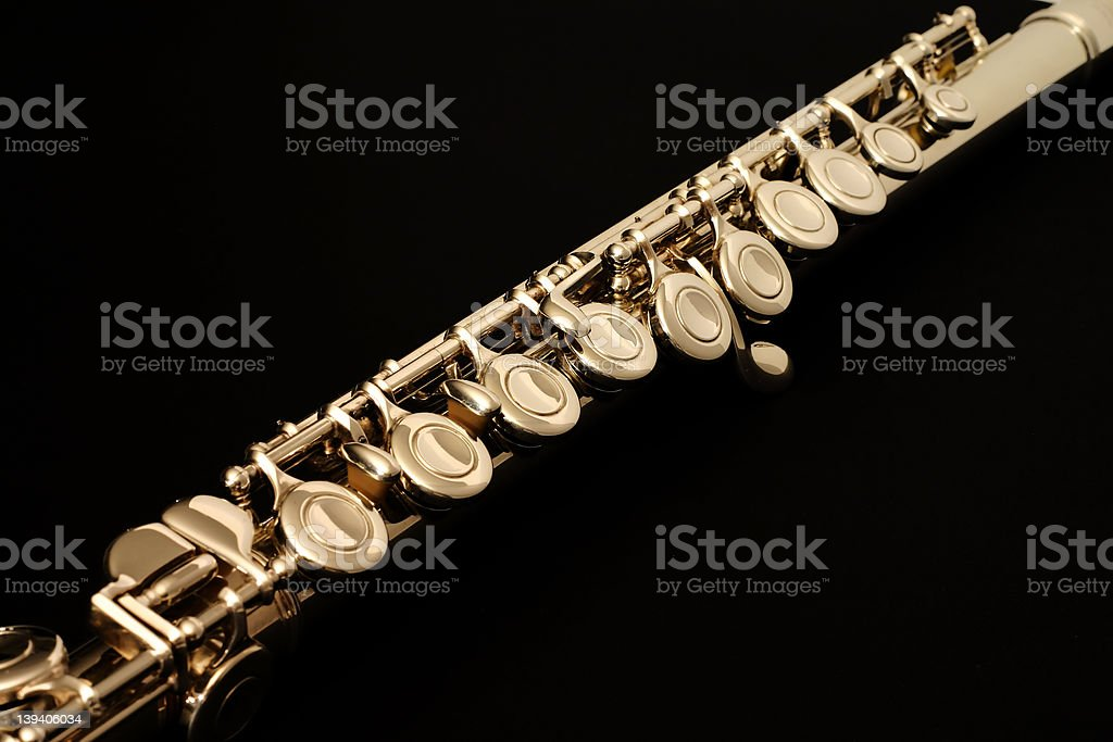 Flute on Black royalty-free stock photo