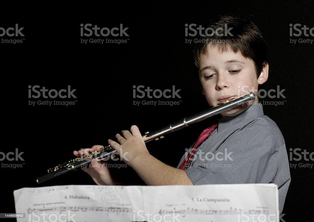 Flute practice stock photo