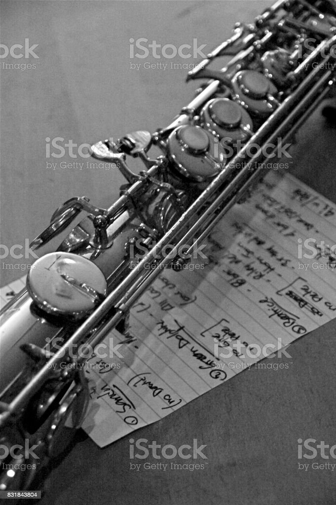Flute with Set List stock photo