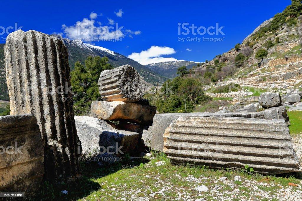 Fluted shats of stone columns on the floor. Arykanda-Turkey. 0536 stock photo