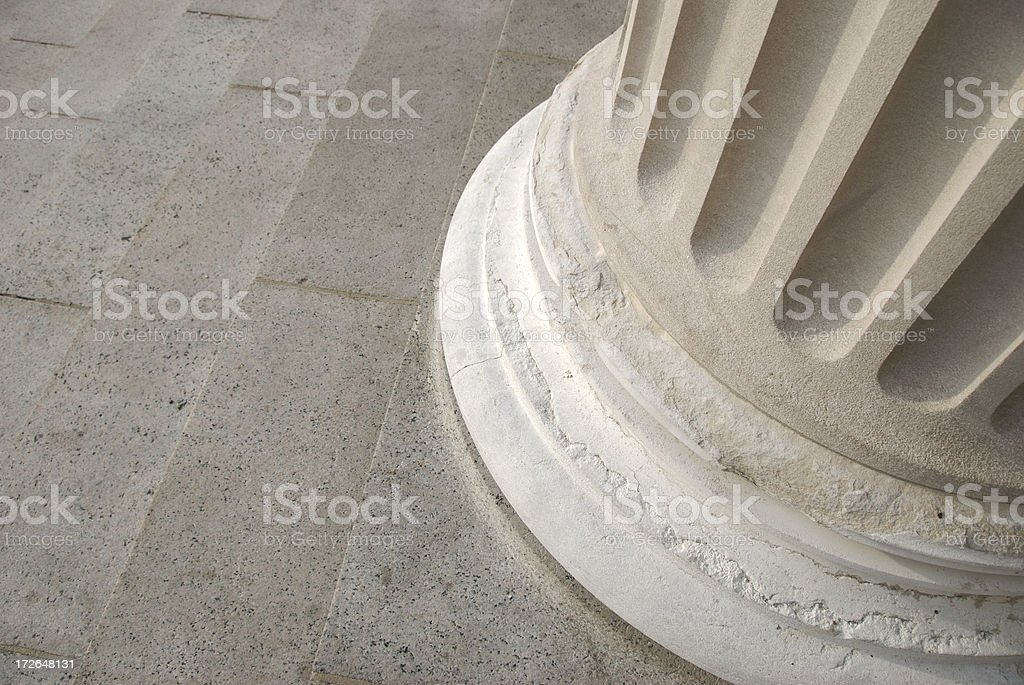 Fluted Stone Column Base Close Up stock photo
