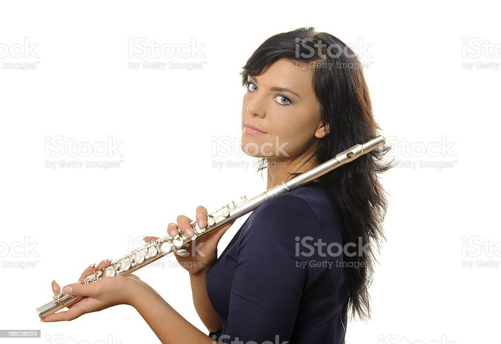 Flutist isolated on white royalty-free stock photo
