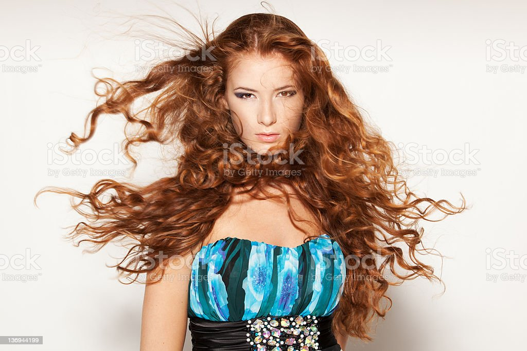 Fluttering hair royalty-free stock photo