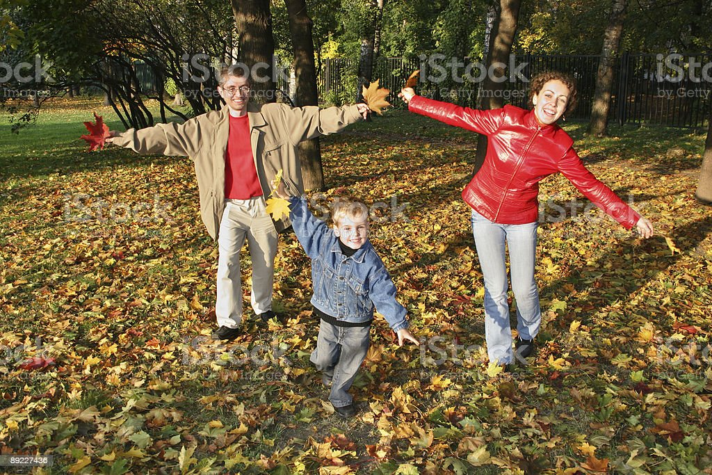 fly family in autumn park royalty-free stock photo