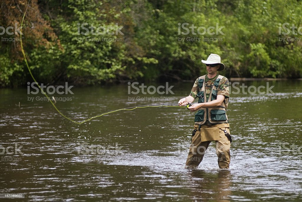 Fly Fisherman Casting royalty-free stock photo