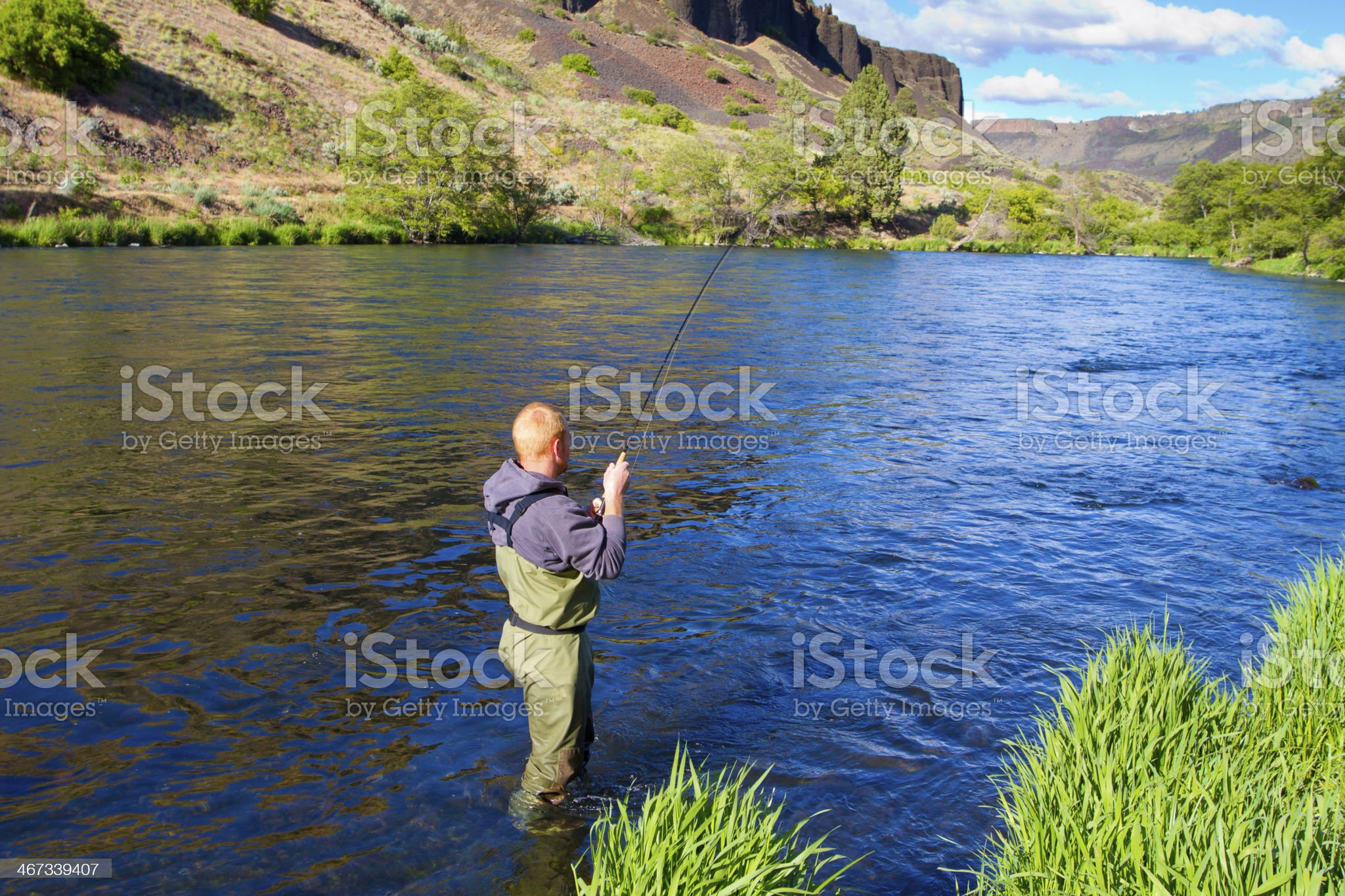 Fly Fisherman Deschutes River royalty-free stock photo
