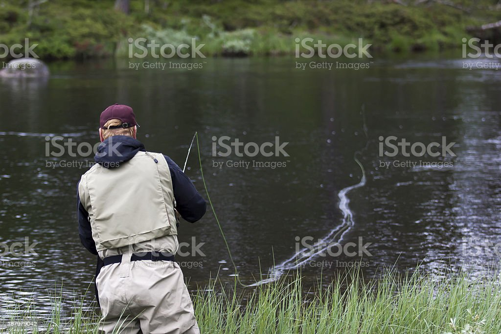 Fly fisherman in red cap and vest. royalty-free stock photo