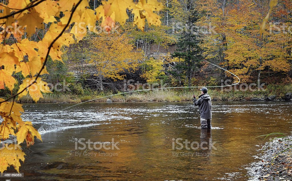 Fly fisherman on the Margaree River, Cape Breton, Nova Scotia stock photo