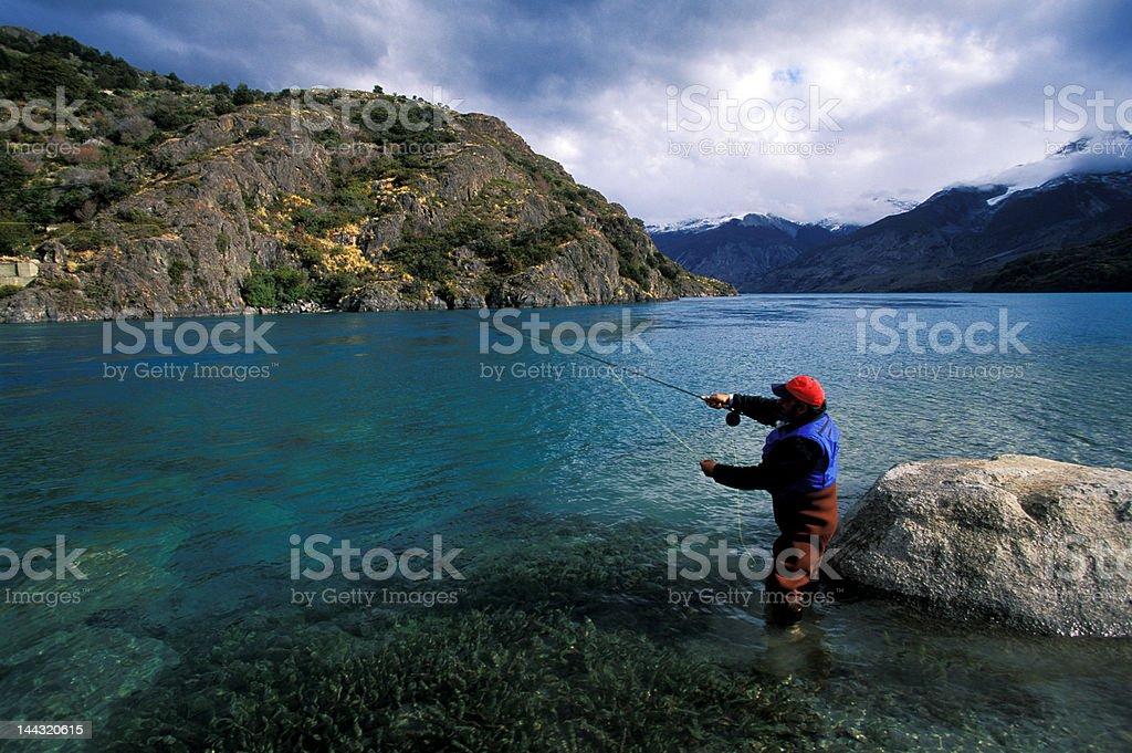 Fly fisherman Patagonia River royalty-free stock photo
