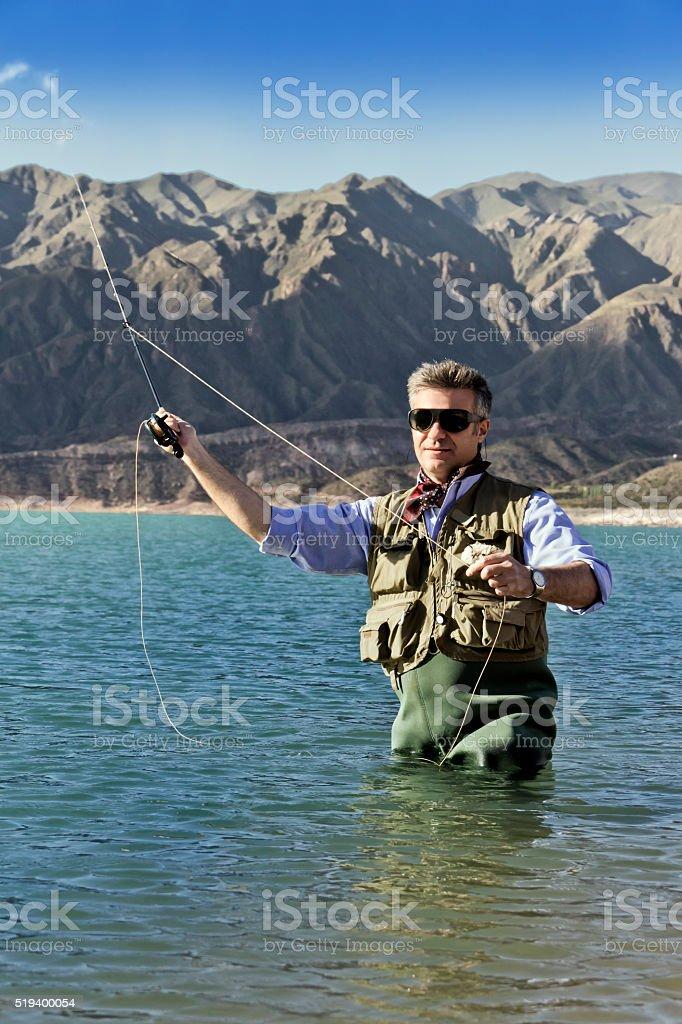 Fly fisherman stock photo