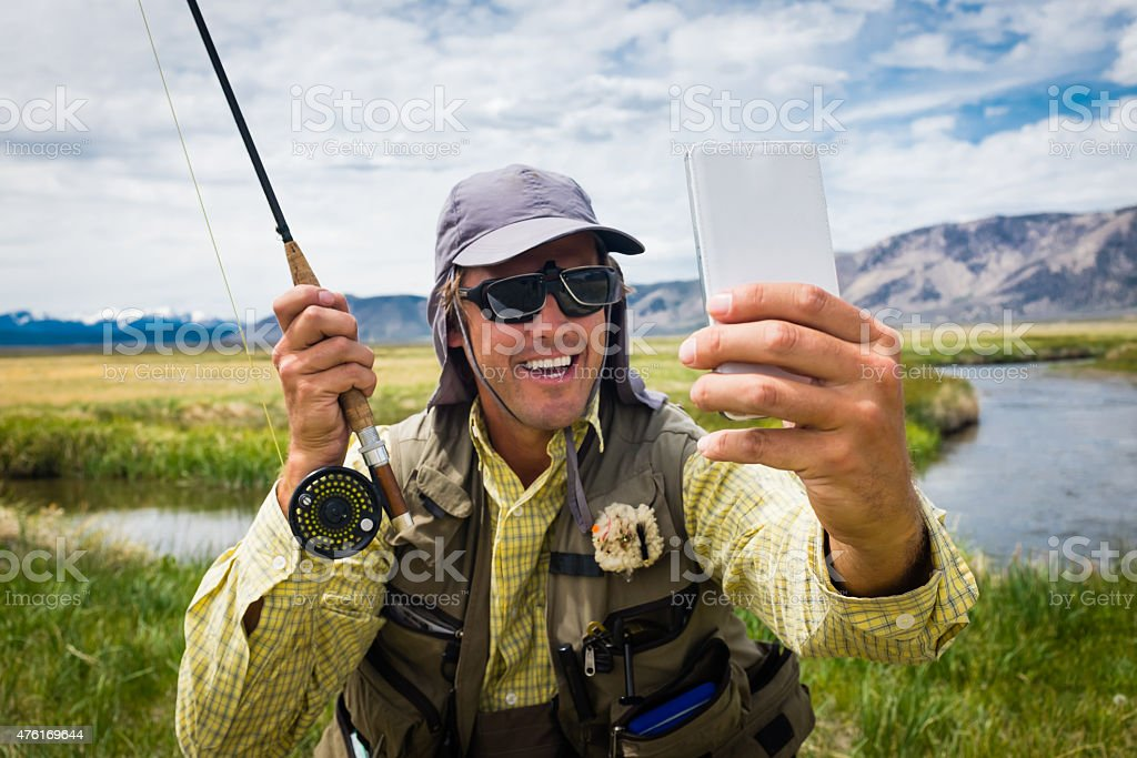 Fly Fisherman Selfie stock photo